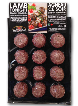 SunGold Lamb Meatballs in Packaging