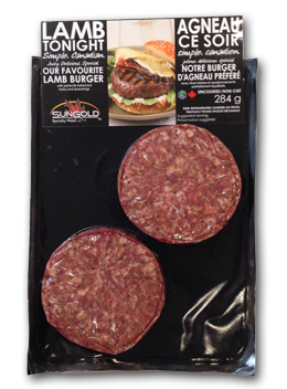 SunGold Lamb Burgers in Packaging