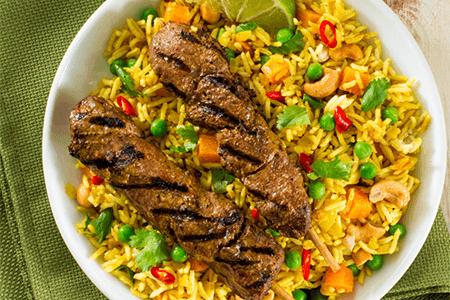 Curry Lamb Biryani Rice Dish