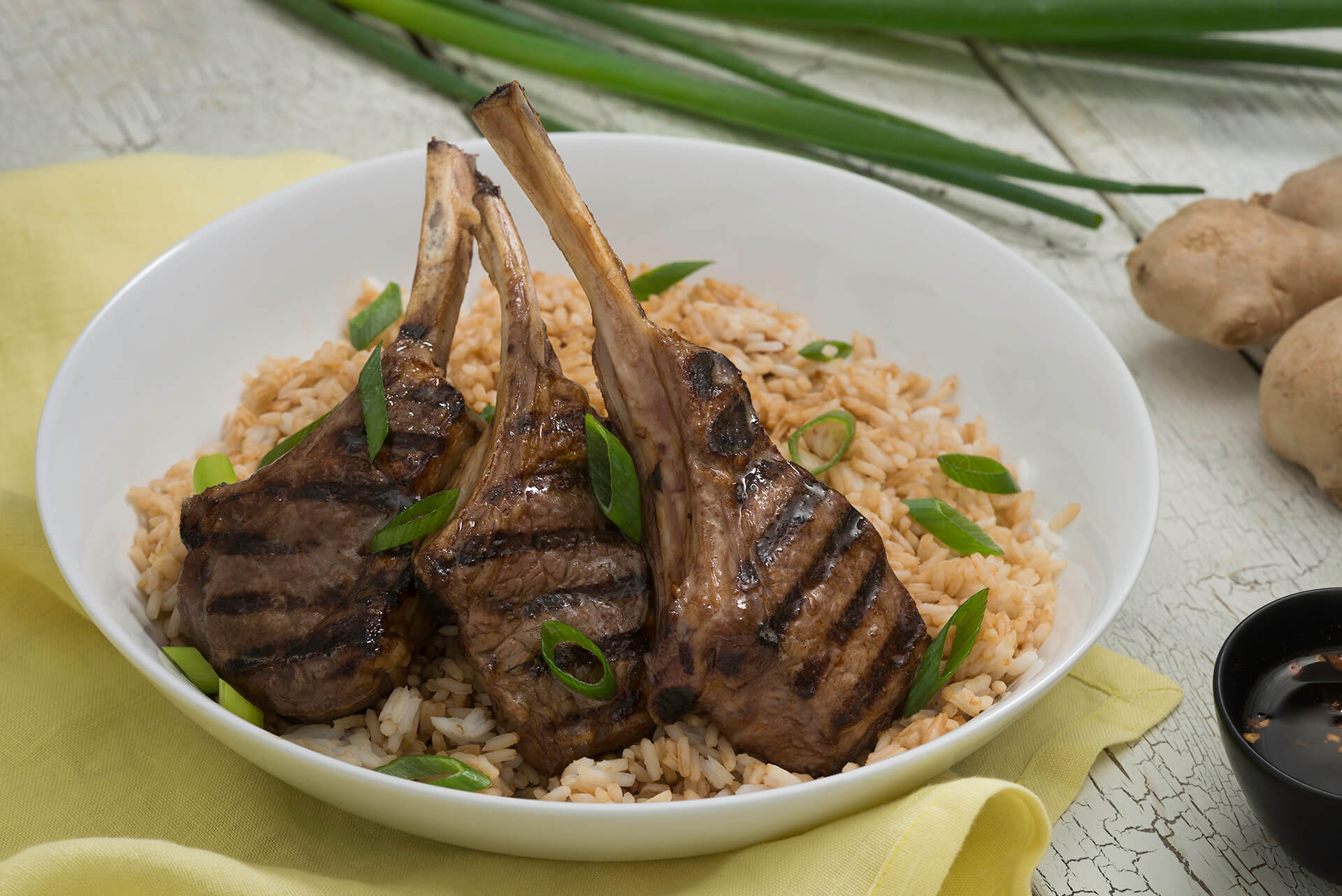 Grilled Lamb Chops on Rice