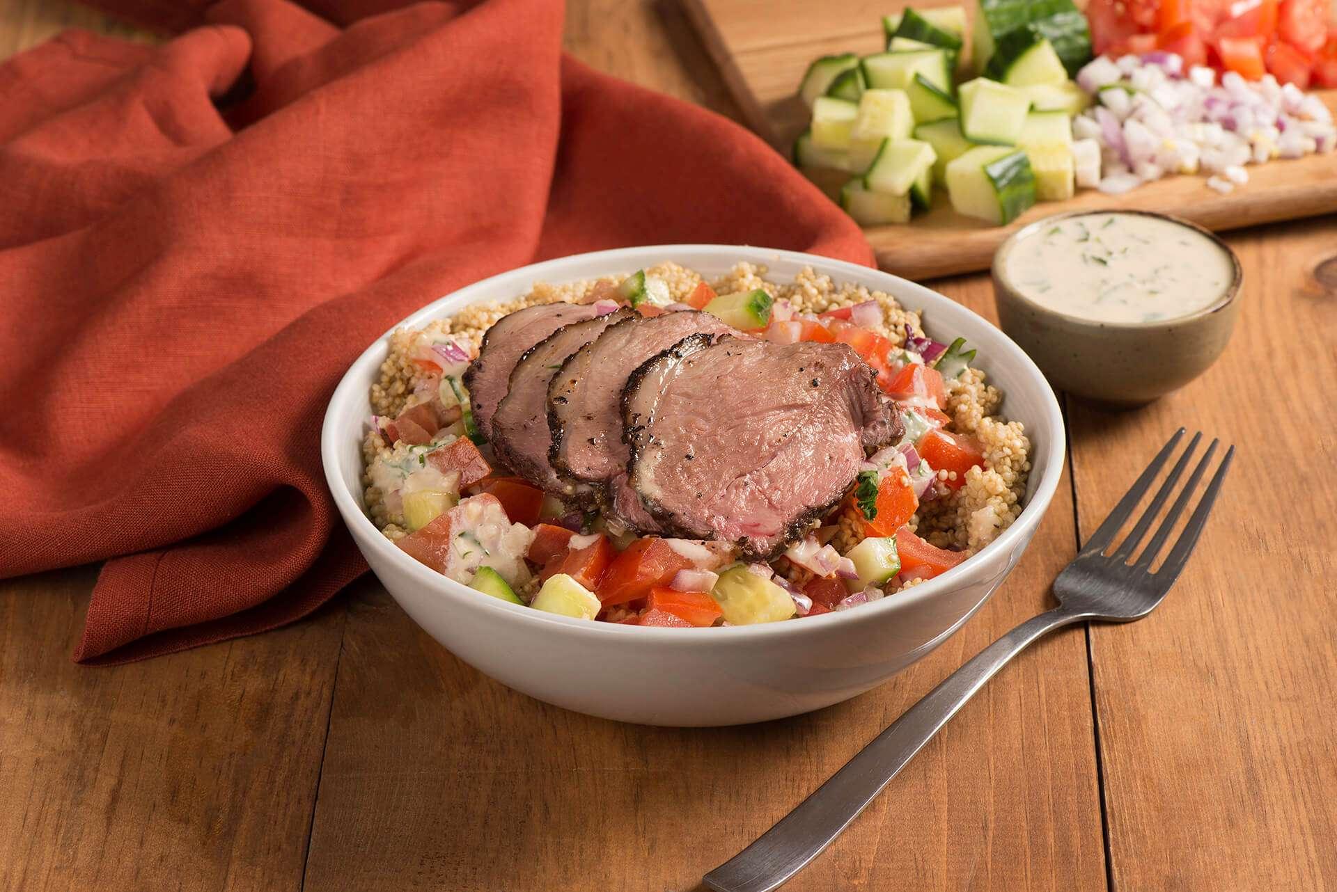 Lamb and Quinoa Power Bowl with Tahini Dressing