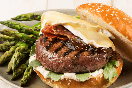 Lamb Burger with brie and a side of asparagus