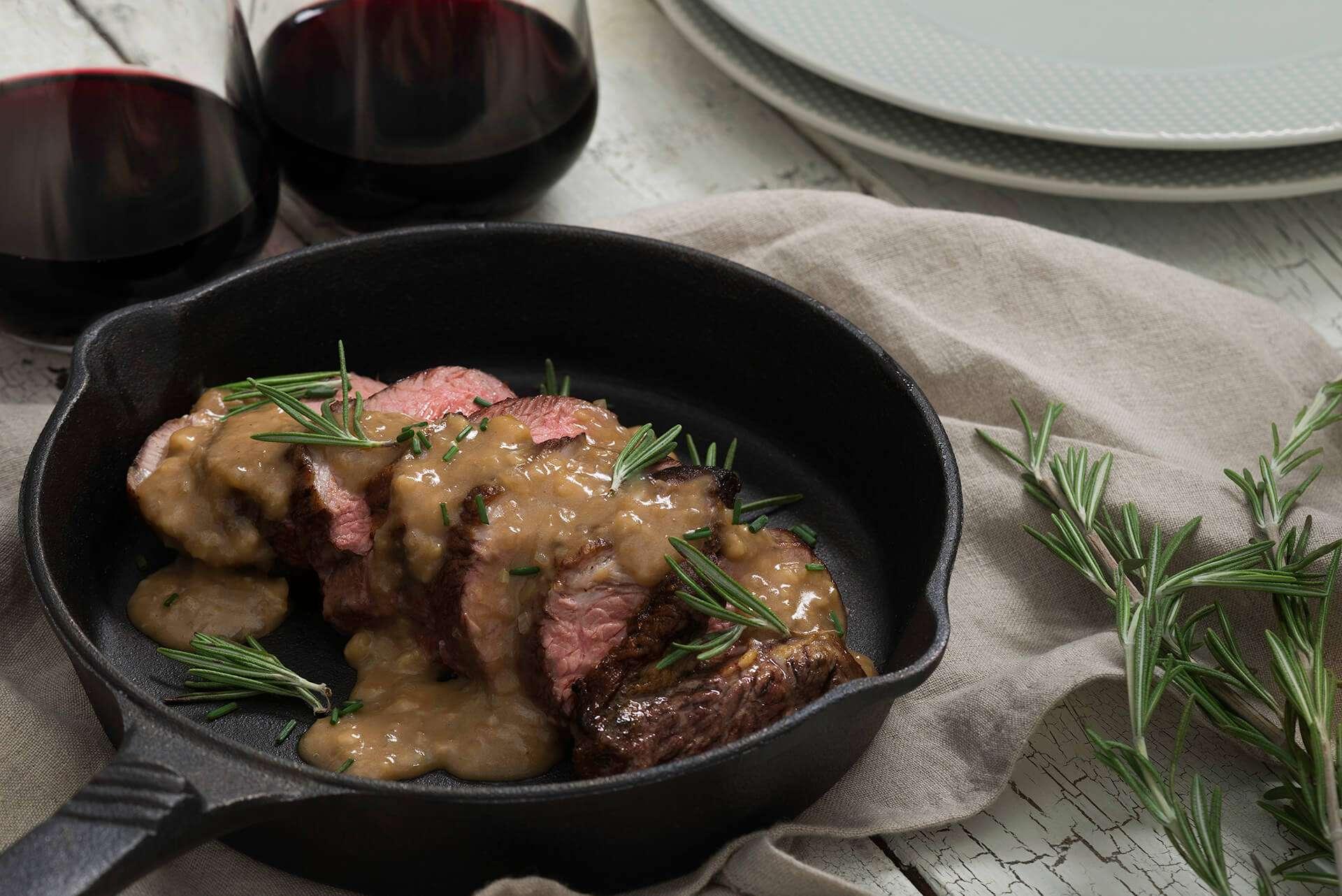 Skillet Lamb Roast with Cognac Pan Sauce
