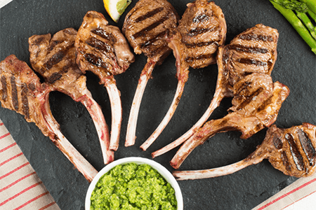 Rack Lambsicles (with Pea and Mint Pesto)